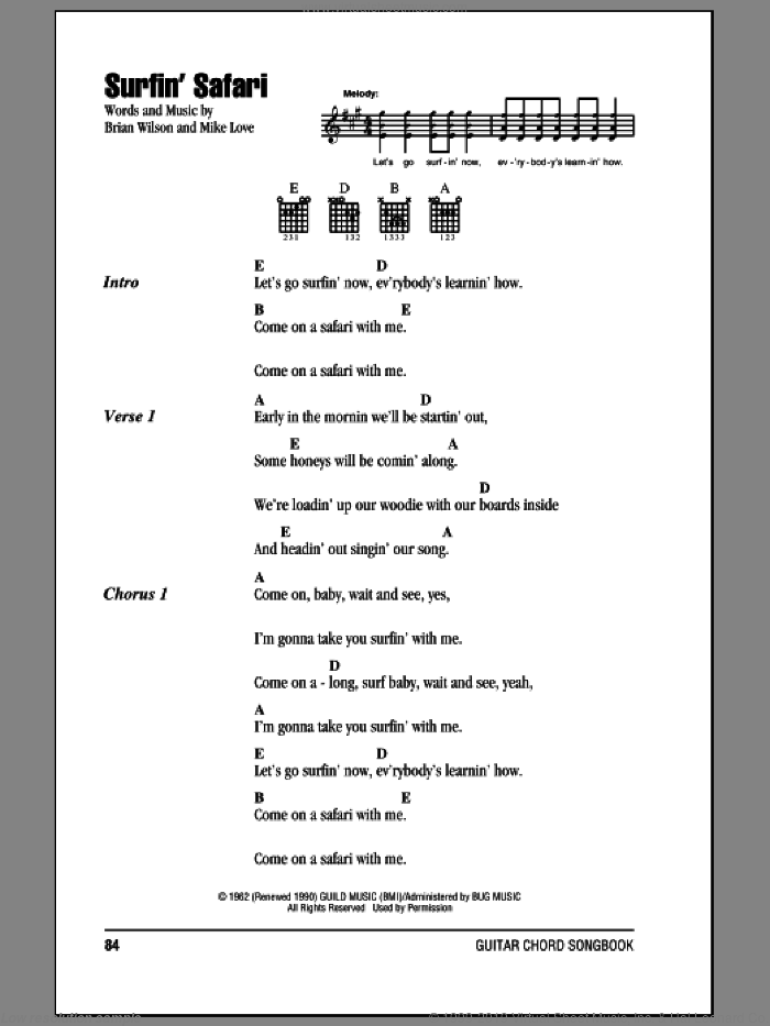 Surfin' Safari sheet music for guitar (chords) by Mike Love and Brian Wilson. Score Image Preview.