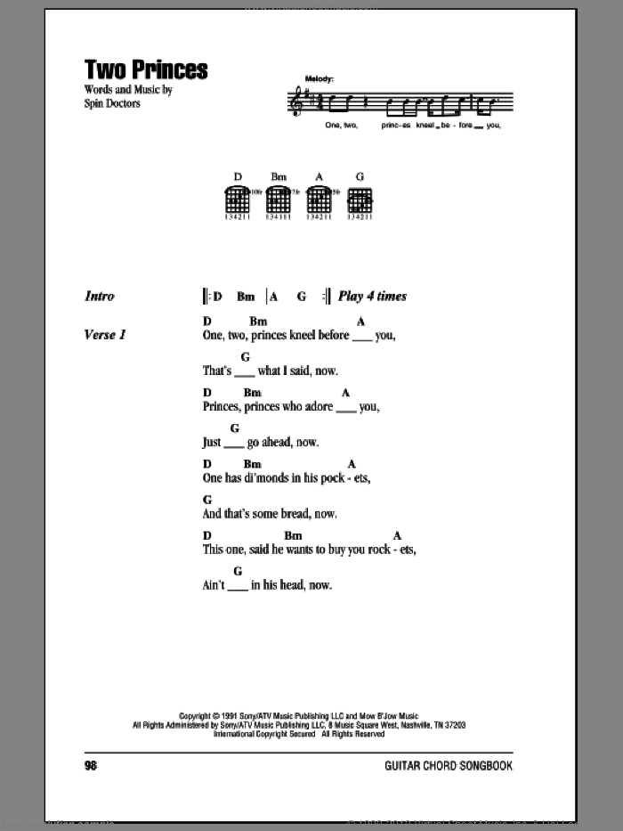Two Princes sheet music for guitar (chords) by Spin Doctors, intermediate skill level