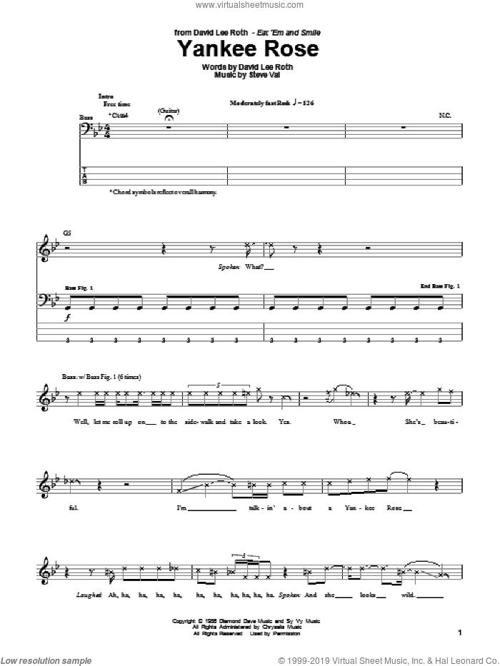 Yankee Rose sheet music for bass (tablature) (bass guitar) by David Lee Roth and Steve Vai, intermediate skill level