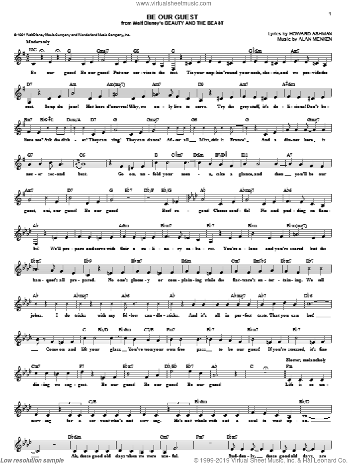 Be Our Guest (from Beauty And The Beast) sheet music for voice and other instruments (fake book) by Alan Menken, Beauty And The Beast and Howard Ashman, intermediate skill level