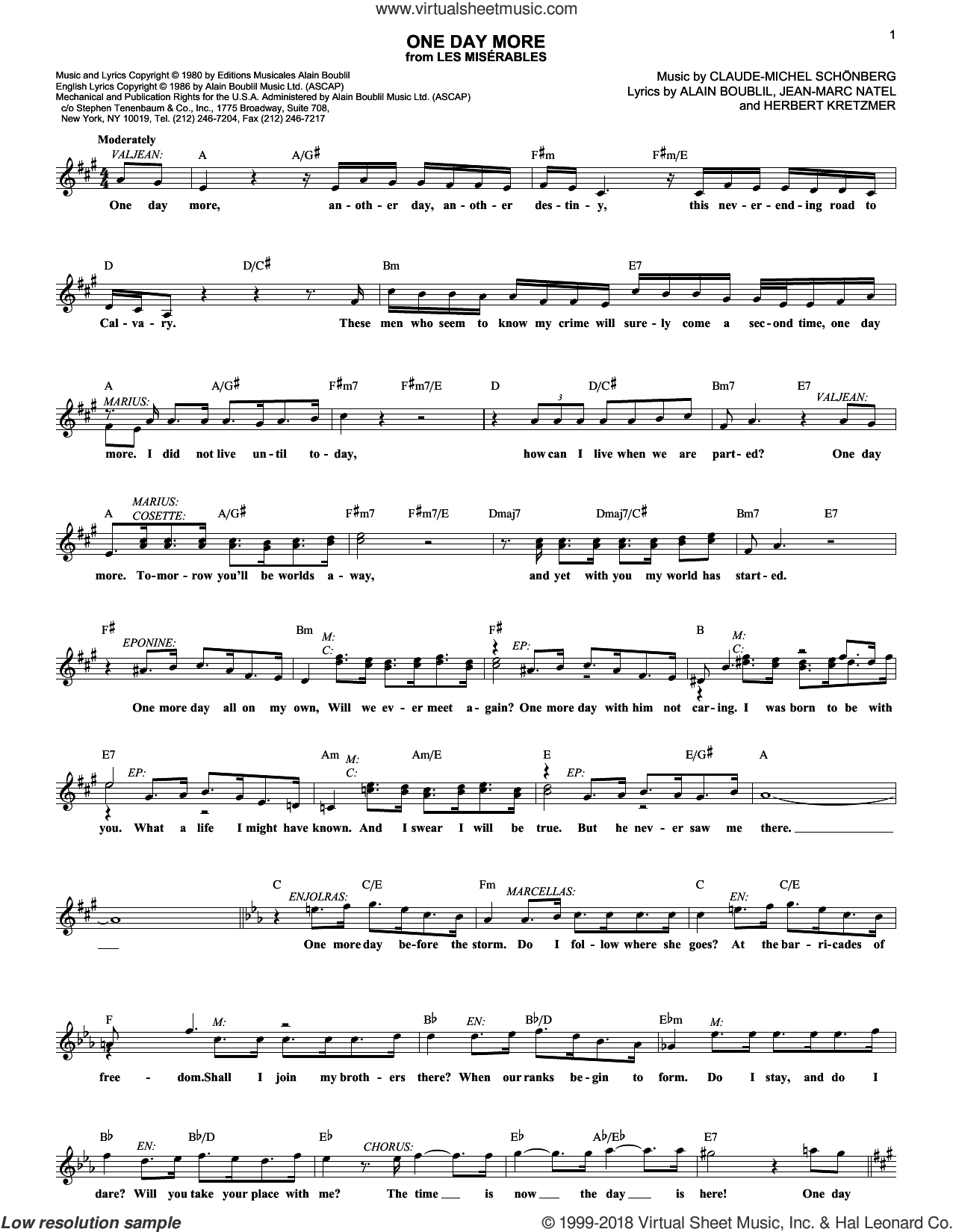 One Day More (from Les Miserables) sheet music for voice and other instruments (fake book) by Alain Boublil, Les Miserables (Musical), Claude-Michel Schonberg, Herbert Kretzmer and Jean-Marc Natel, intermediate skill level