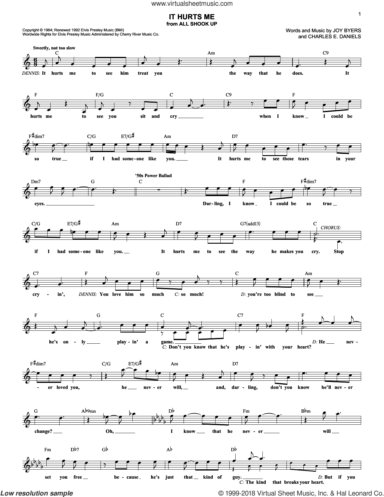 It Hurts Me sheet music for voice and other instruments (fake book) by Elvis Presley, All Shook Up (Musical), Charles E. Daniels and Joy Byers, intermediate skill level