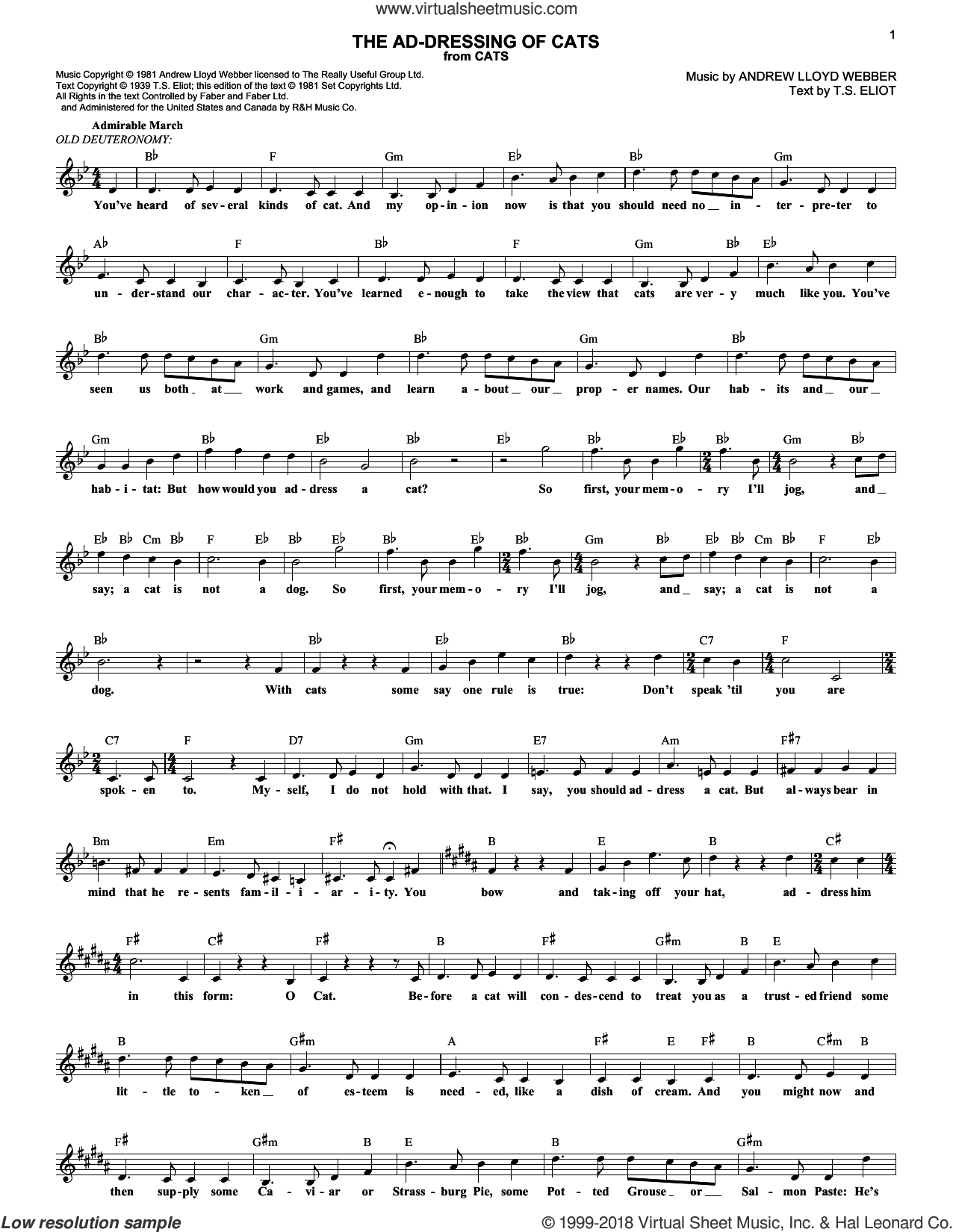 The Ad-Dressing Of Cats (from Cats) sheet music for voice and other instruments (fake book) by Andrew Lloyd Webber, Cats (Musical) and T.S. Eliot, intermediate skill level