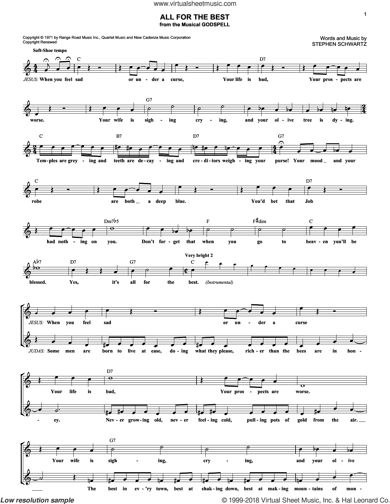 All For The Best sheet music for voice and other instruments (fake book) by Stephen Schwartz. Score Image Preview.