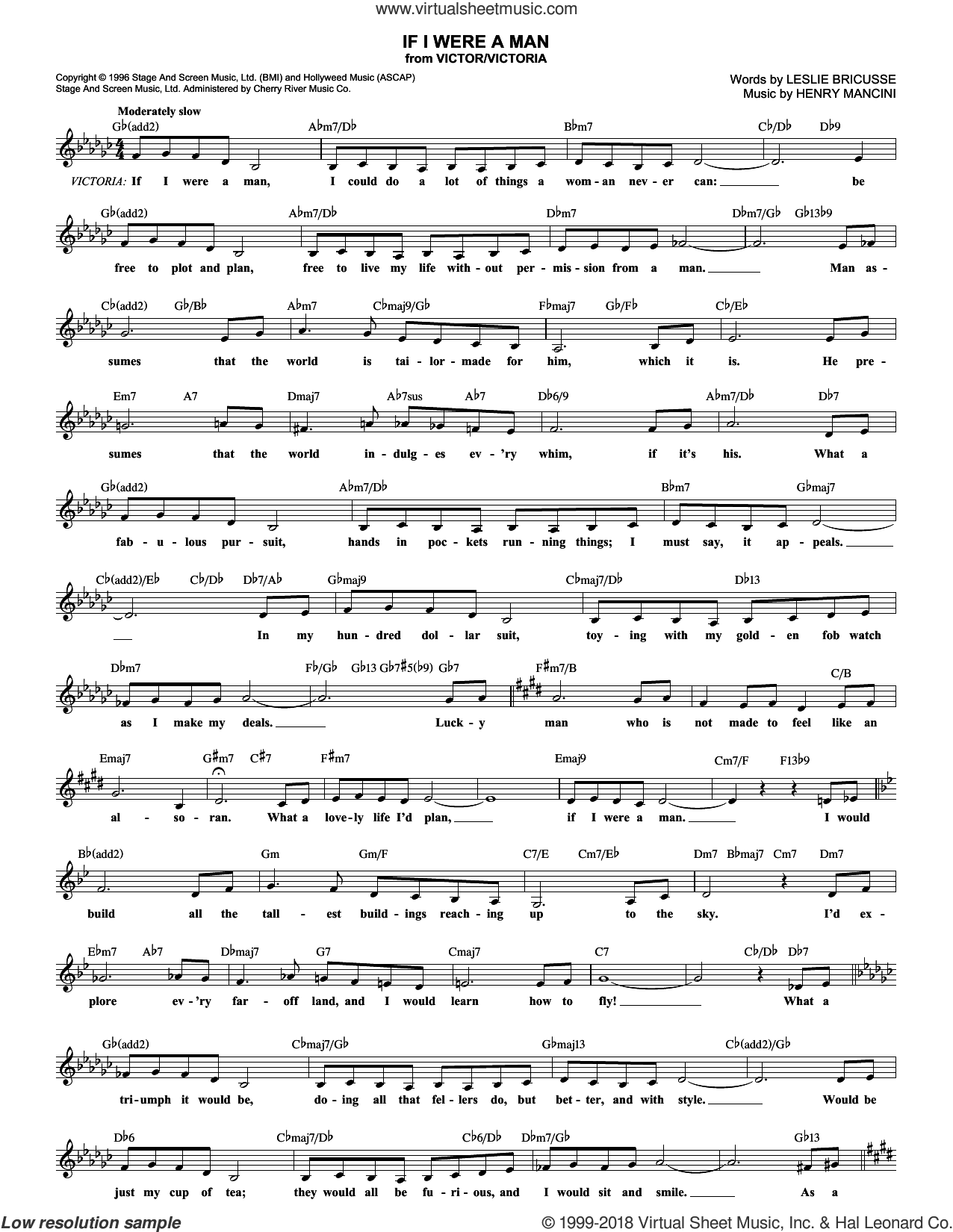 If I Were A Man sheet music for voice and other instruments (fake book) by Henry Mancini and Leslie Bricusse. Score Image Preview.