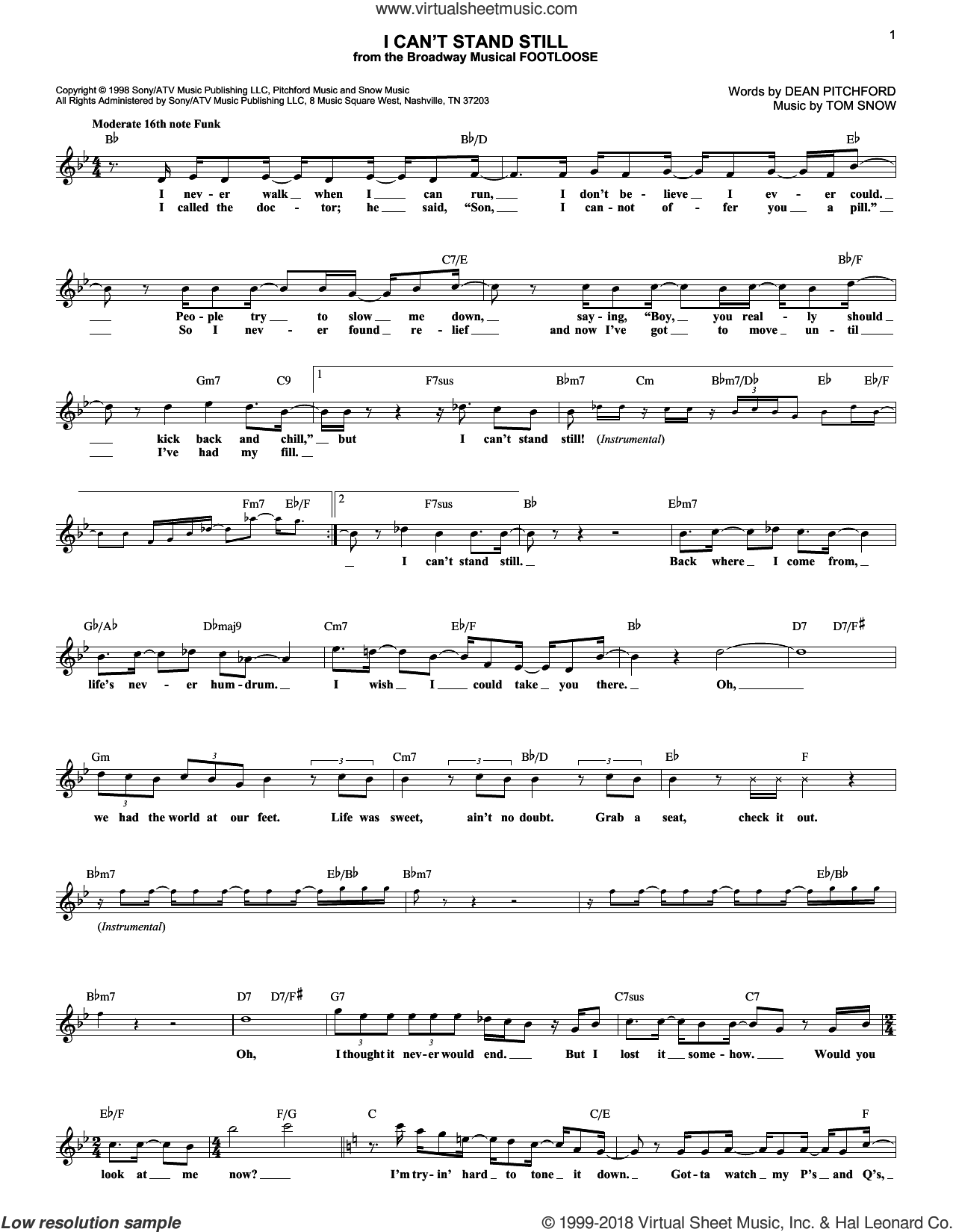 I Can't Stand Still sheet music for voice and other instruments (fake book) by Dean Pitchford and Tom Snow, intermediate skill level