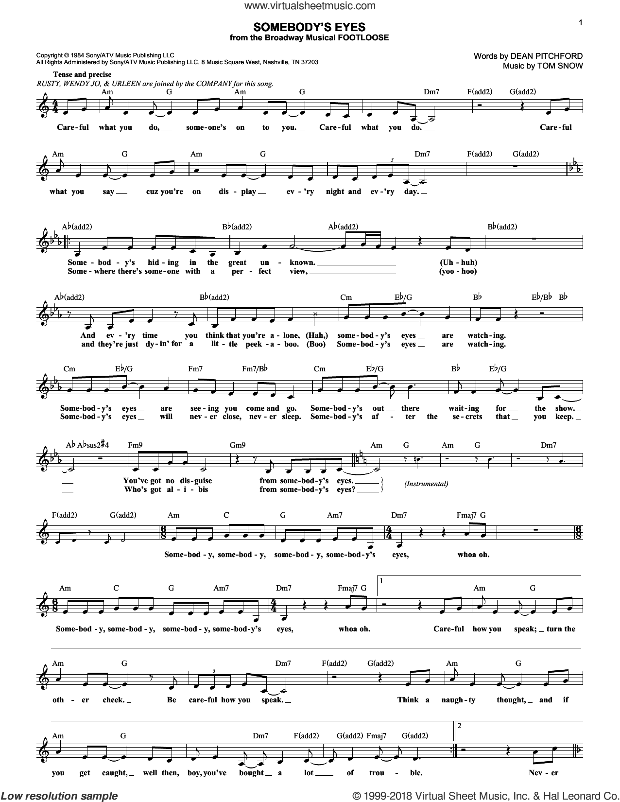Somebody's Eyes sheet music for voice and other instruments (fake book) by Dean Pitchford and Tom Snow, intermediate skill level