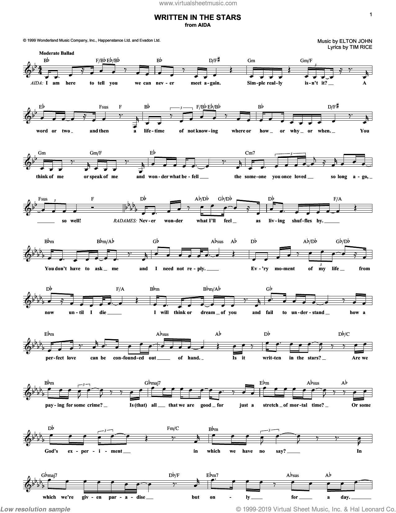 Written In The Stars sheet music for voice and other instruments (fake book) by Tim Rice and Elton John. Score Image Preview.
