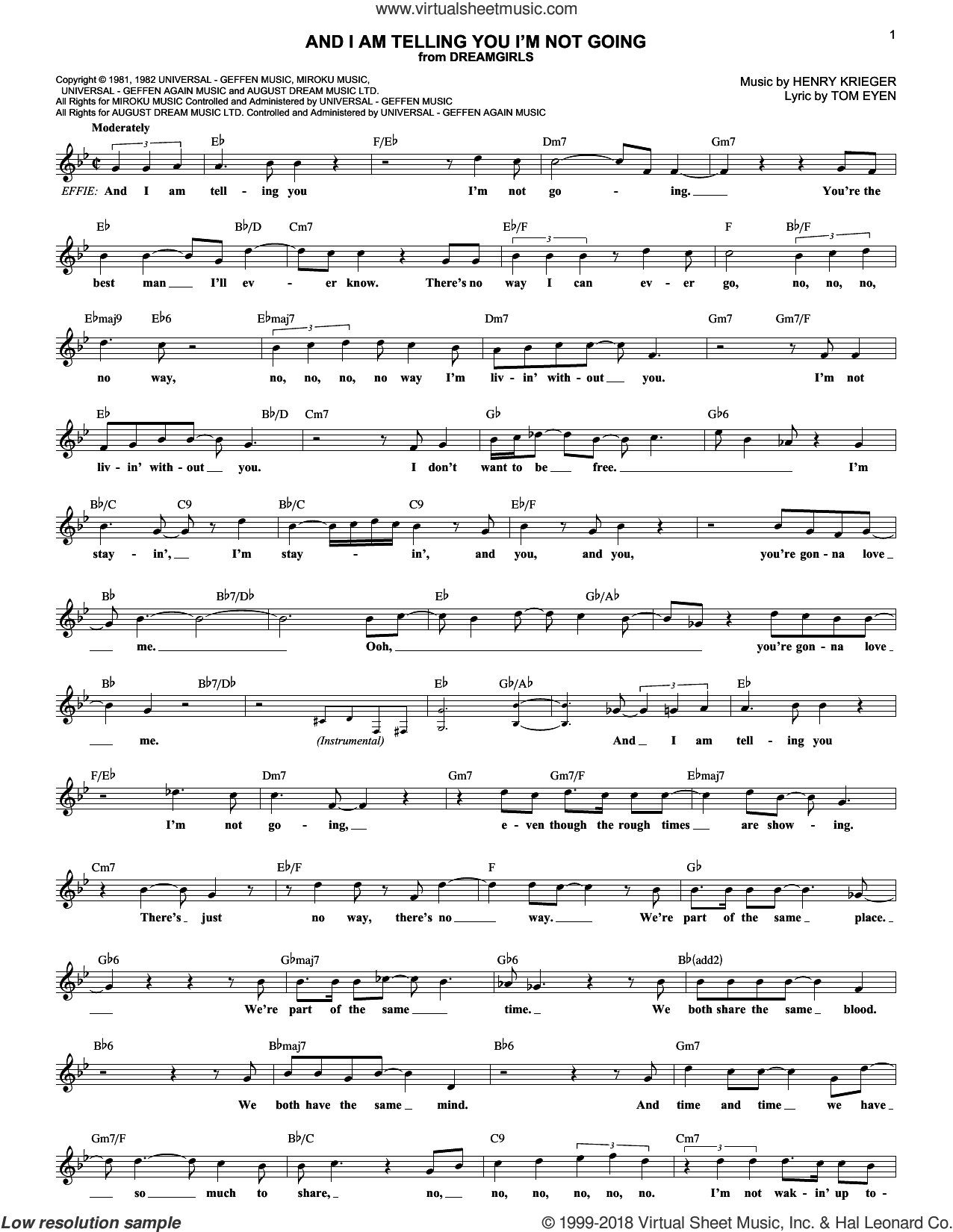 And I Am Telling You I'm Not Going sheet music for voice and other instruments (fake book) by Tom Eyen, Jennifer Hudson and Henry Krieger. Score Image Preview.