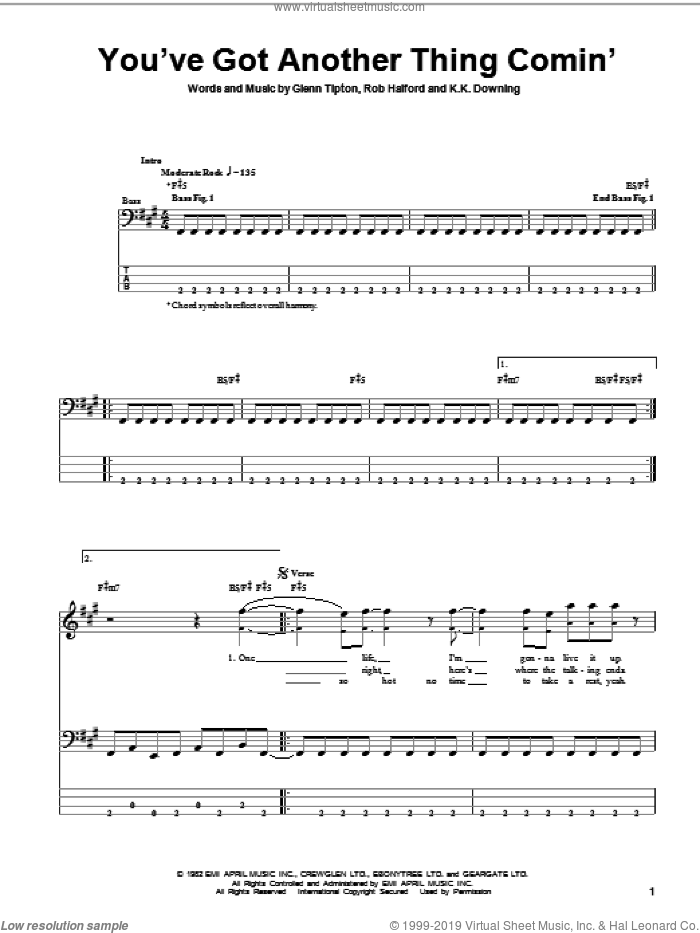 You've Got Another Thing Comin' sheet music for bass (tablature) (bass guitar) by Judas Priest, Glenn Tipton, K.K. Downing and Rob Halford, intermediate skill level
