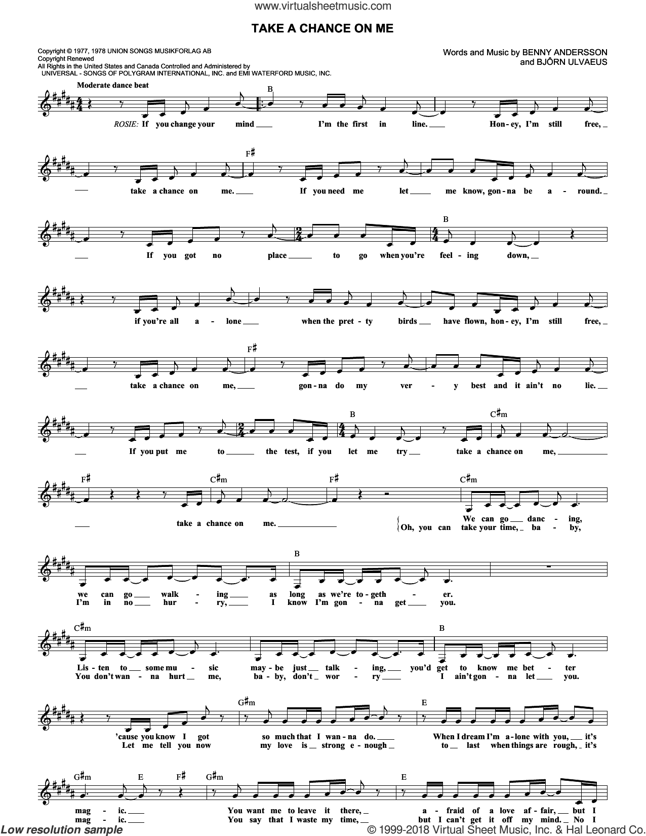 Take A Chance On Me sheet music for voice and other instruments (fake book) by ABBA, Benny Andersson and Bjorn Ulvaeus. Score Image Preview.