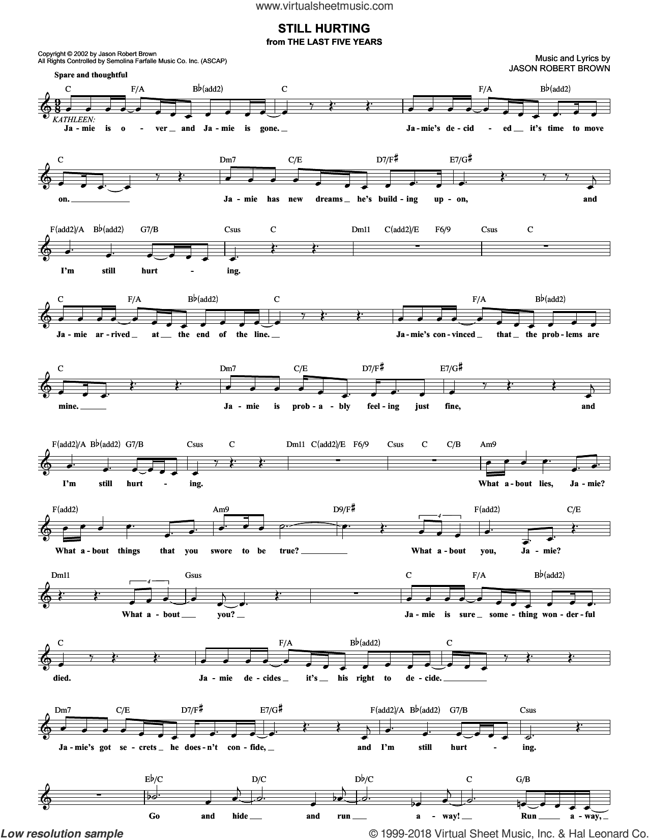 Still Hurting sheet music for voice and other instruments (fake book) by Jason Robert Brown. Score Image Preview.