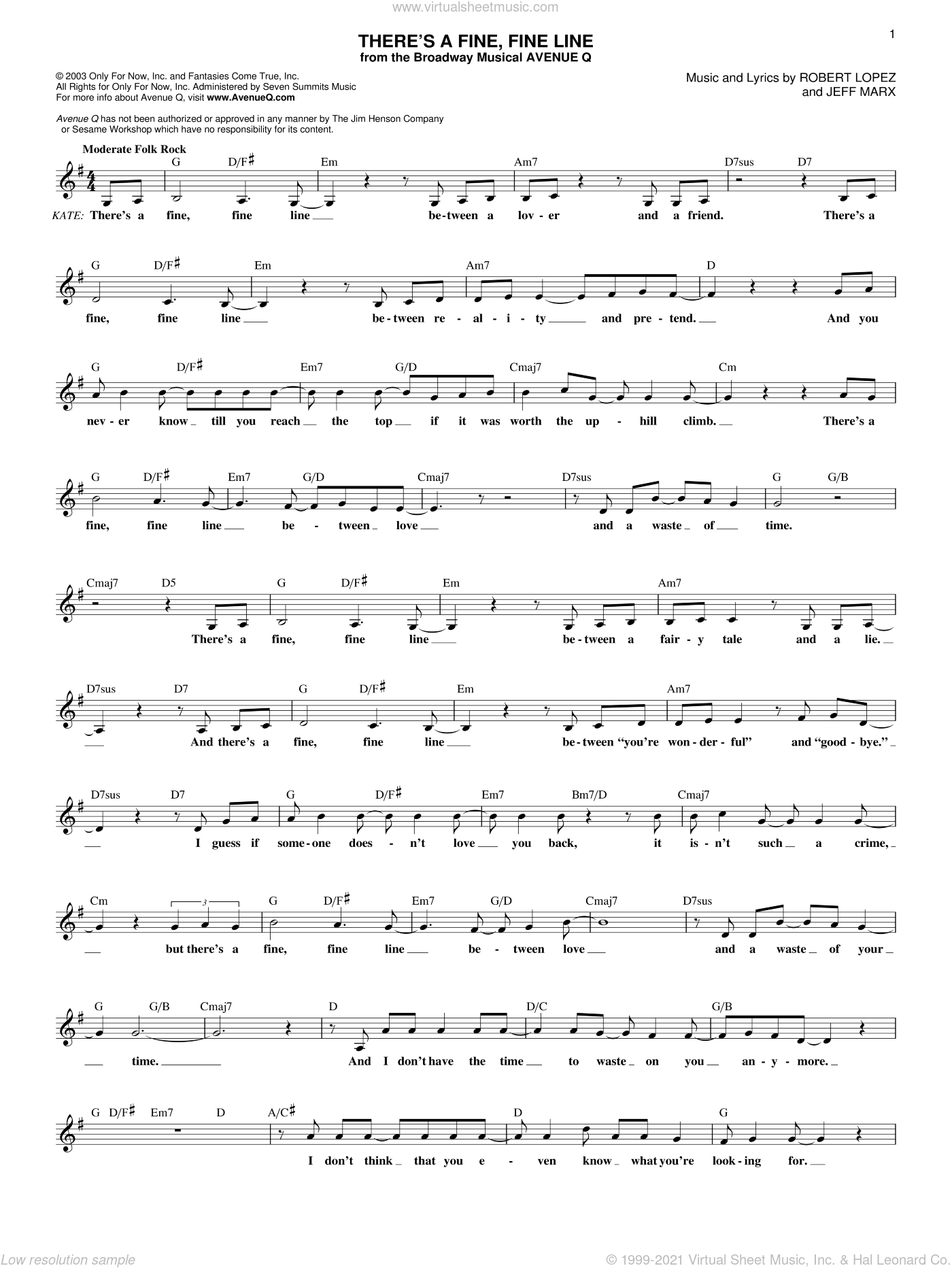 There's A Fine, Fine Line sheet music for voice and other instruments (fake book) by Robert Lopez and Avenue Q. Score Image Preview.