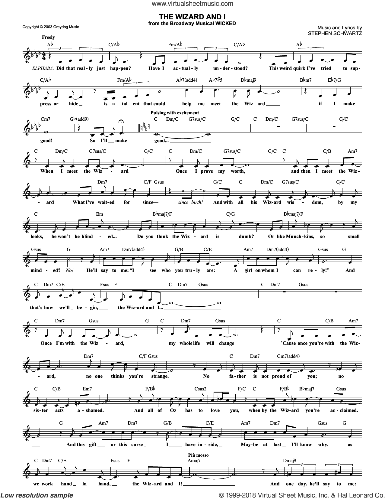 The Wizard And I sheet music for voice and other instruments (fake book) by Stephen Schwartz, intermediate. Score Image Preview.