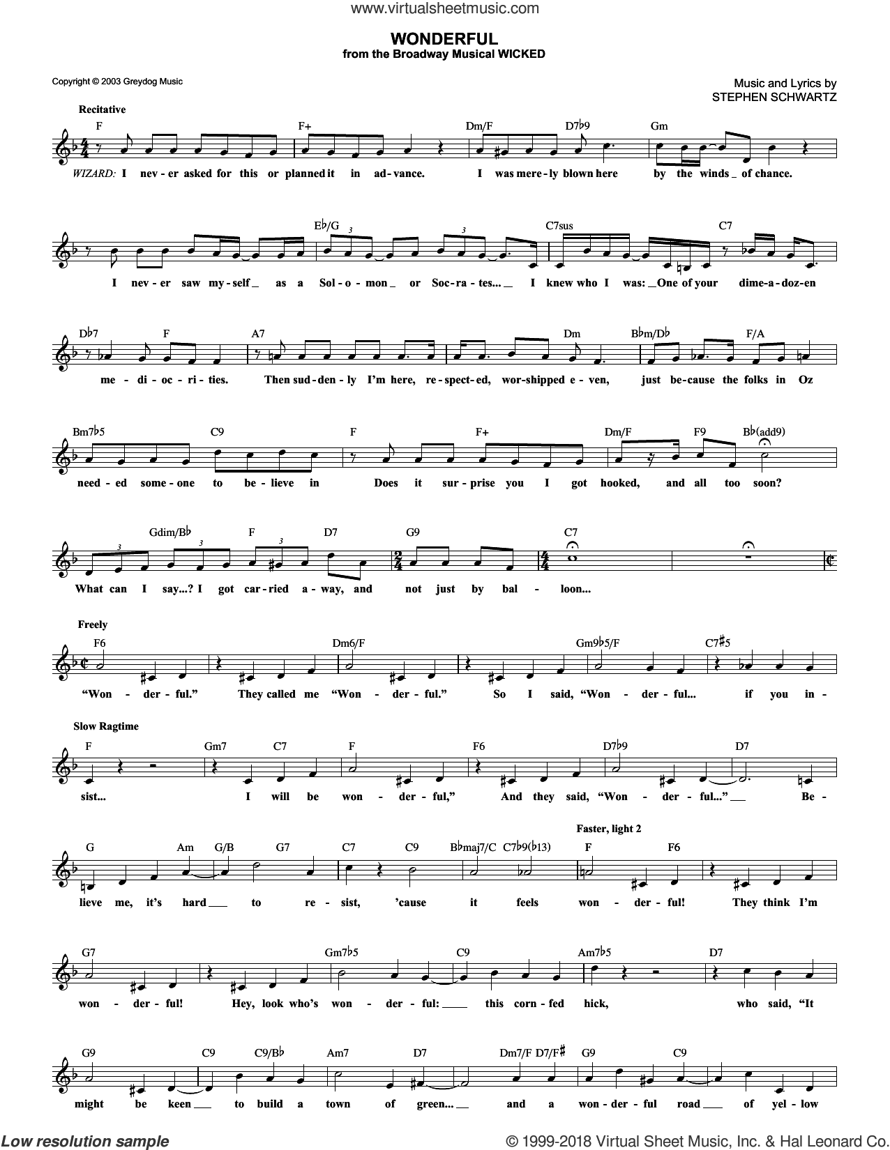Wonderful sheet music for voice and other instruments (fake book) by Stephen Schwartz and Wicked (Musical), intermediate skill level