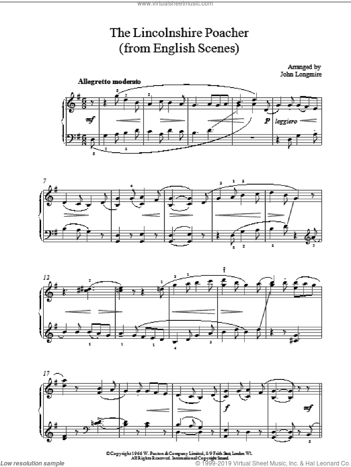 The Lincolnshire Poacher sheet music for piano solo by J. Longmire, intermediate. Score Image Preview.