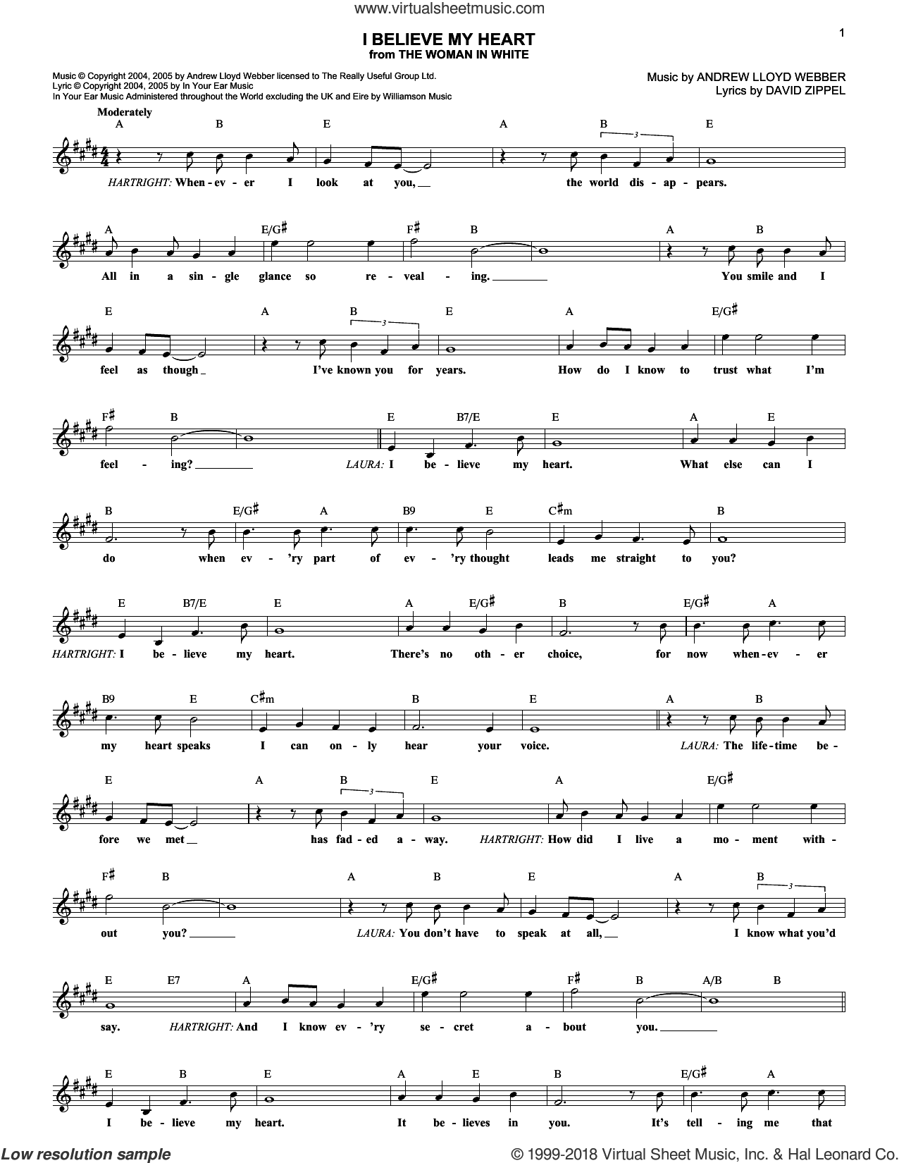 I Believe My Heart (from The Woman In White) sheet music for voice and other instruments (fake book) by Andrew Lloyd Webber, The Woman In White (Musical) and David Zippel, intermediate skill level