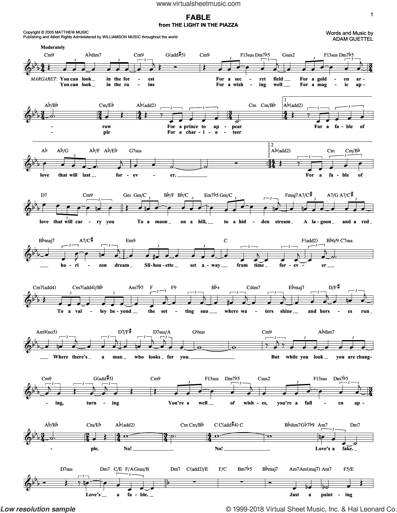 Fable sheet music for voice and other instruments (fake book) by Adam Guettel. Score Image Preview.