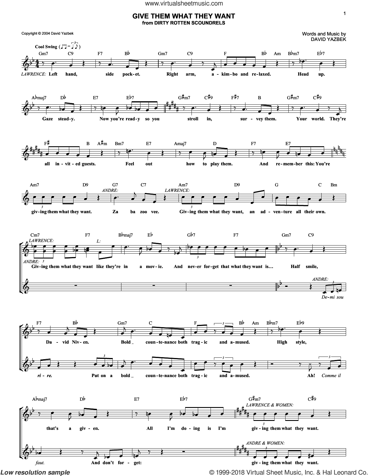 Give Them What They Want sheet music for voice and other instruments (fake book) by David Yazbek. Score Image Preview.