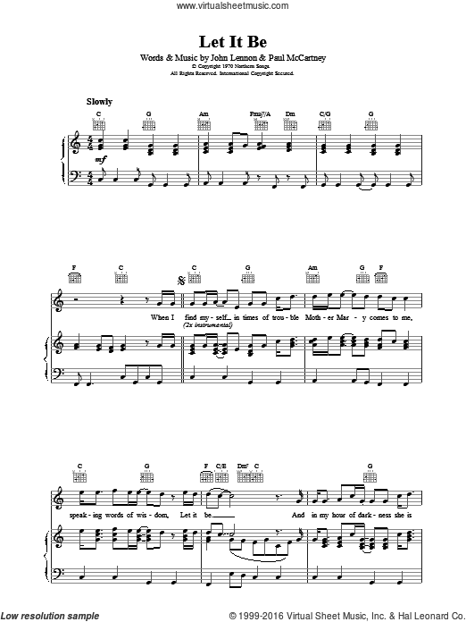 Let It Be sheet music for voice, piano or guitar by The Beatles, John Lennon and Paul McCartney. Score Image Preview.