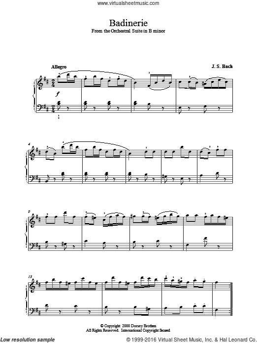 Badinerie sheet music for piano solo by Johann Sebastian Bach. Score Image Preview.