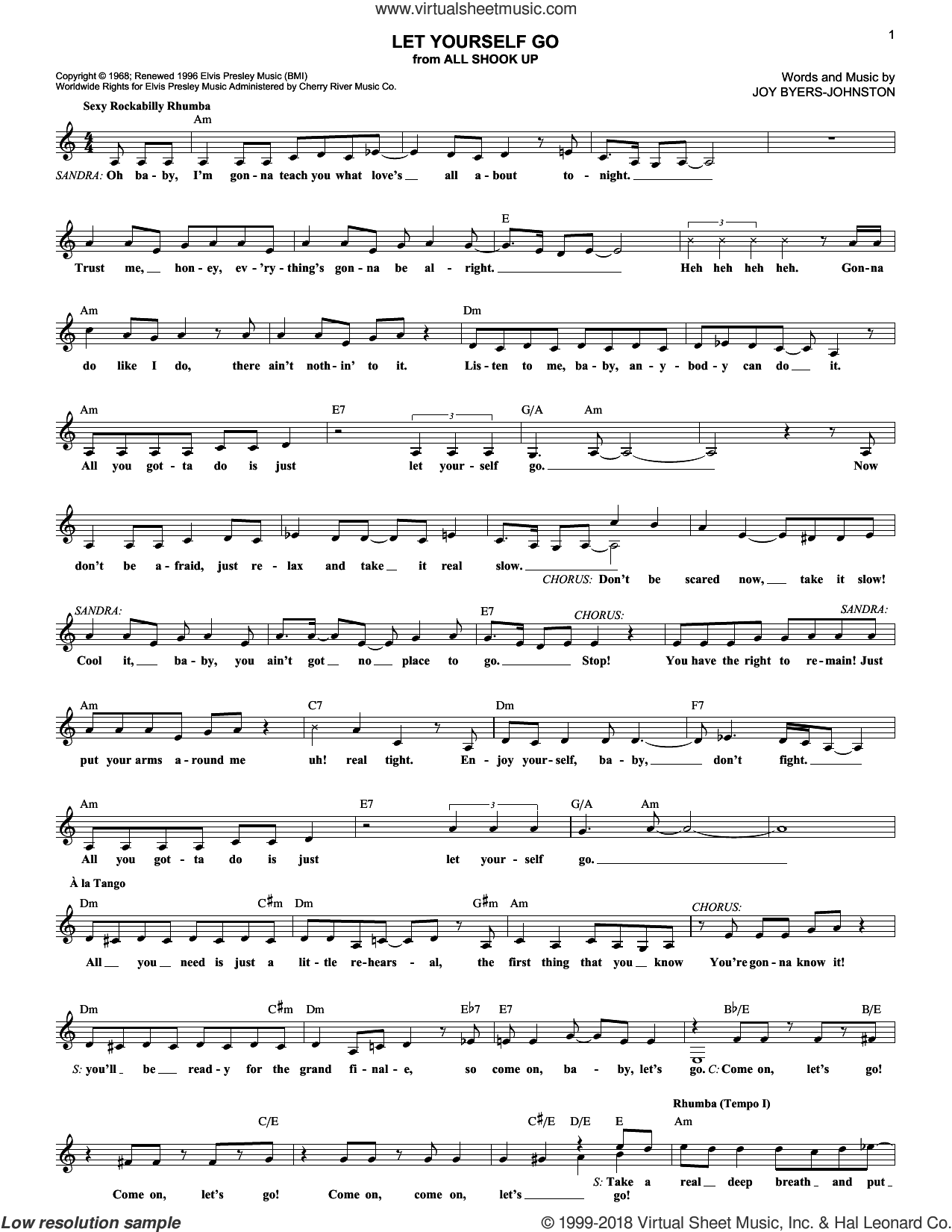 Let Yourself Go sheet music for voice and other instruments (fake book) by Elvis Presley, All Shook Up (Musical) and Joy Byers-Johnston, intermediate skill level