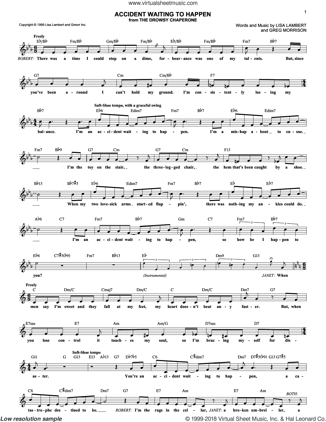 Accident Waiting To Happen sheet music for voice and other instruments (fake book) by Lisa Lambert, Drowsy Chaperone (Musical) and Greg Morrison, intermediate skill level