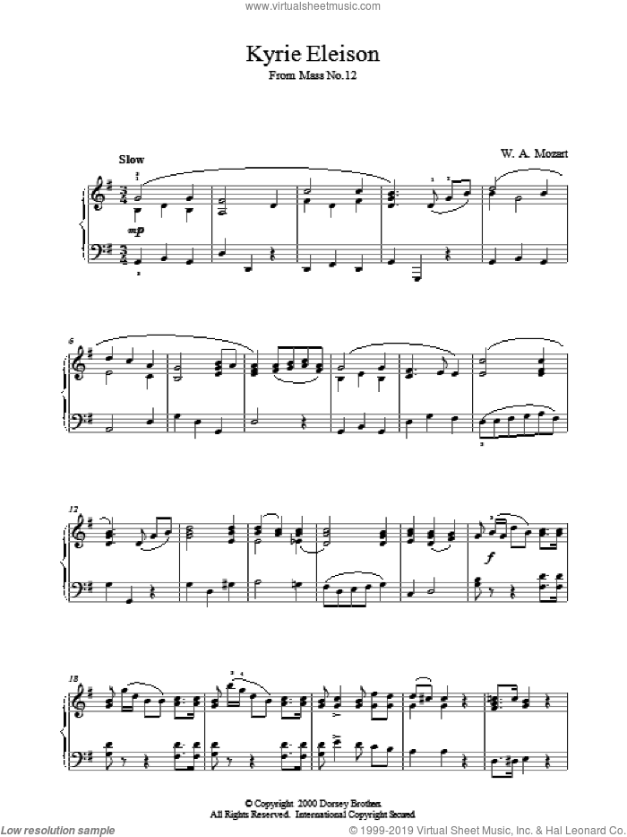 Kyrie Eleison From Mass No.12 sheet music for piano solo by Wolfgang Amadeus Mozart, classical score, intermediate skill level