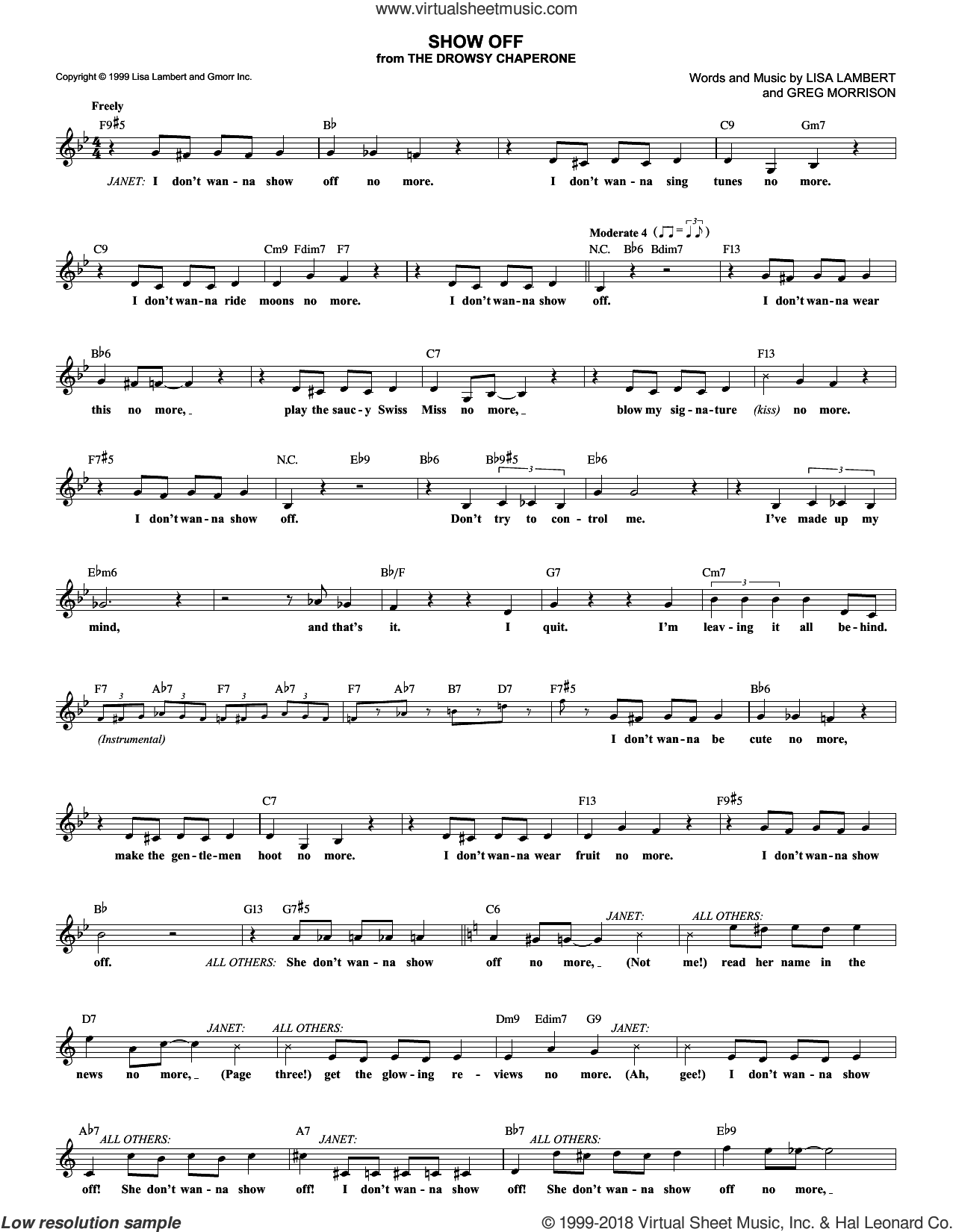 Show Off sheet music for voice and other instruments (fake book) by Lisa Lambert, Drowsy Chaperone (Musical) and Greg Morrison, intermediate skill level