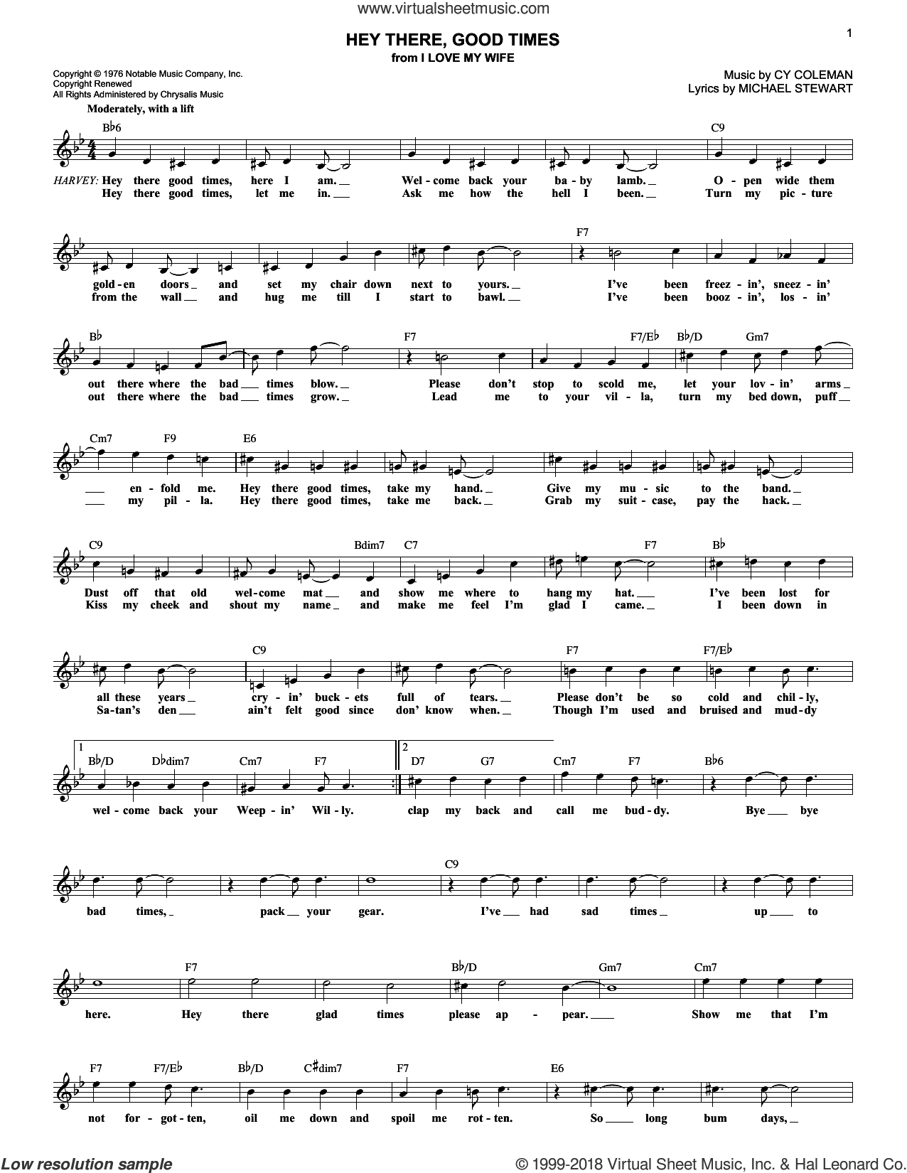Hey There, Good Times sheet music for voice and other instruments (fake book) by Michael Stewart and Cy Coleman, intermediate skill level
