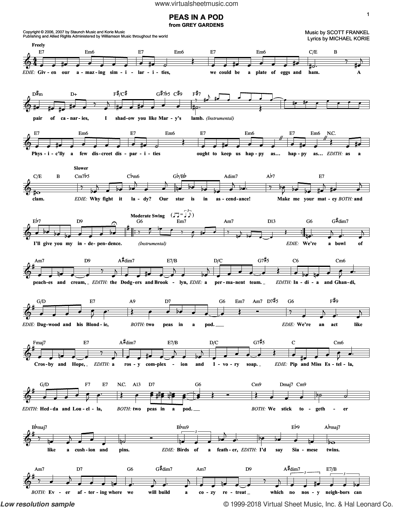 Peas In A Pod sheet music for voice and other instruments (fake book) by Michael Korie and Scott Frankel, intermediate. Score Image Preview.