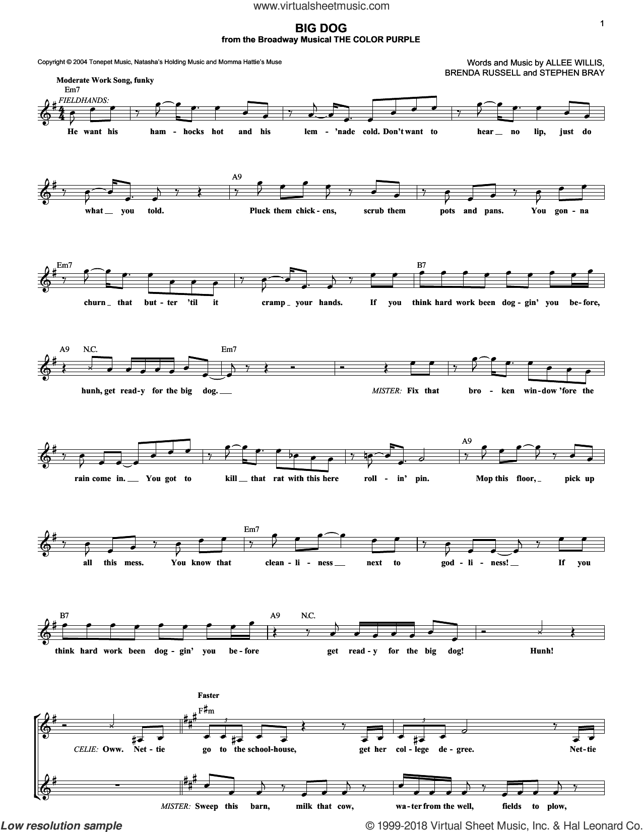 Big Dog sheet music for voice and other instruments (fake book) by Stephen Bray, Allee Willis and Brenda Russell. Score Image Preview.