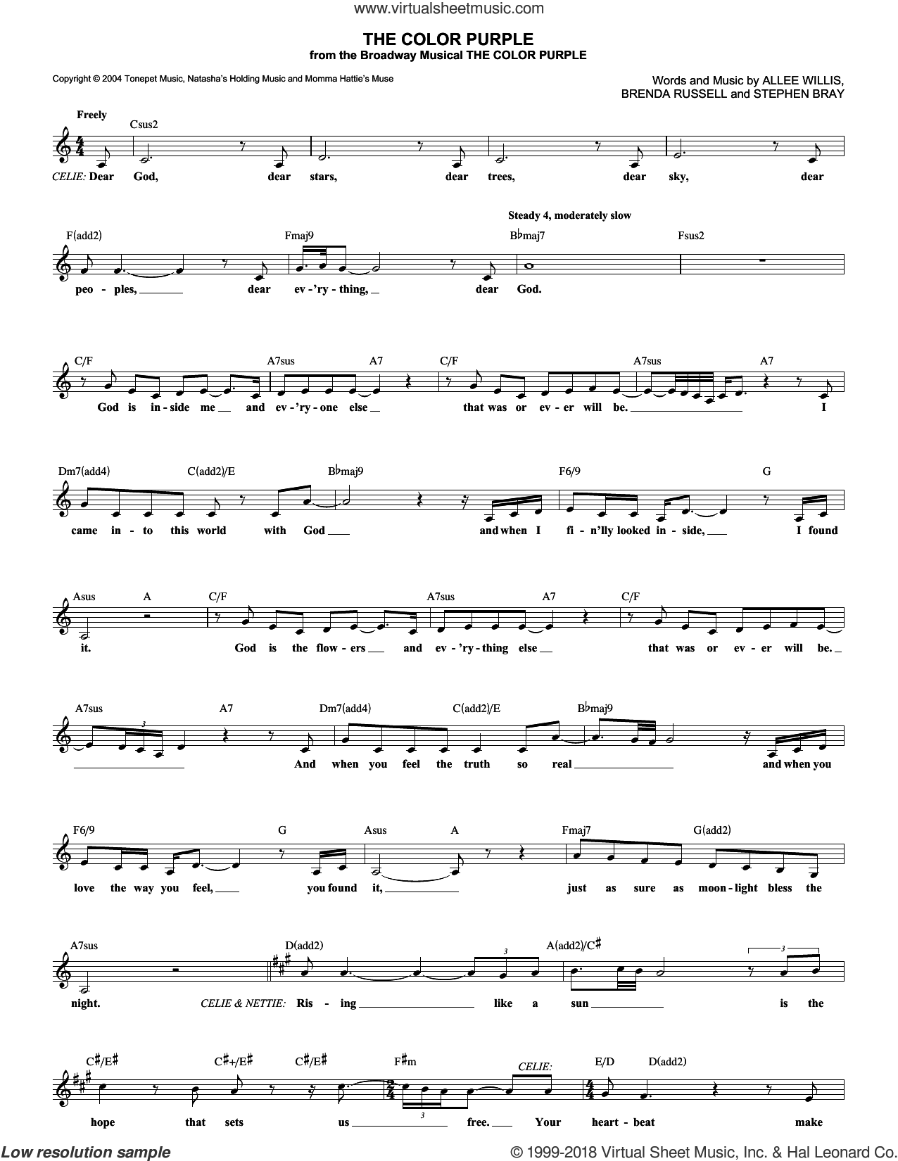 The Color Purple sheet music for voice and other instruments (fake book) by Stephen Bray, Allee Willis and Brenda Russell. Score Image Preview.