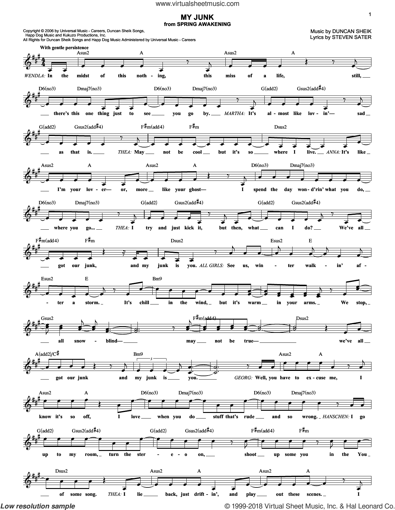 My Junk sheet music for voice and other instruments (fake book) by Duncan Sheik, Spring Awakening (Musical) and Steven Sater, intermediate skill level
