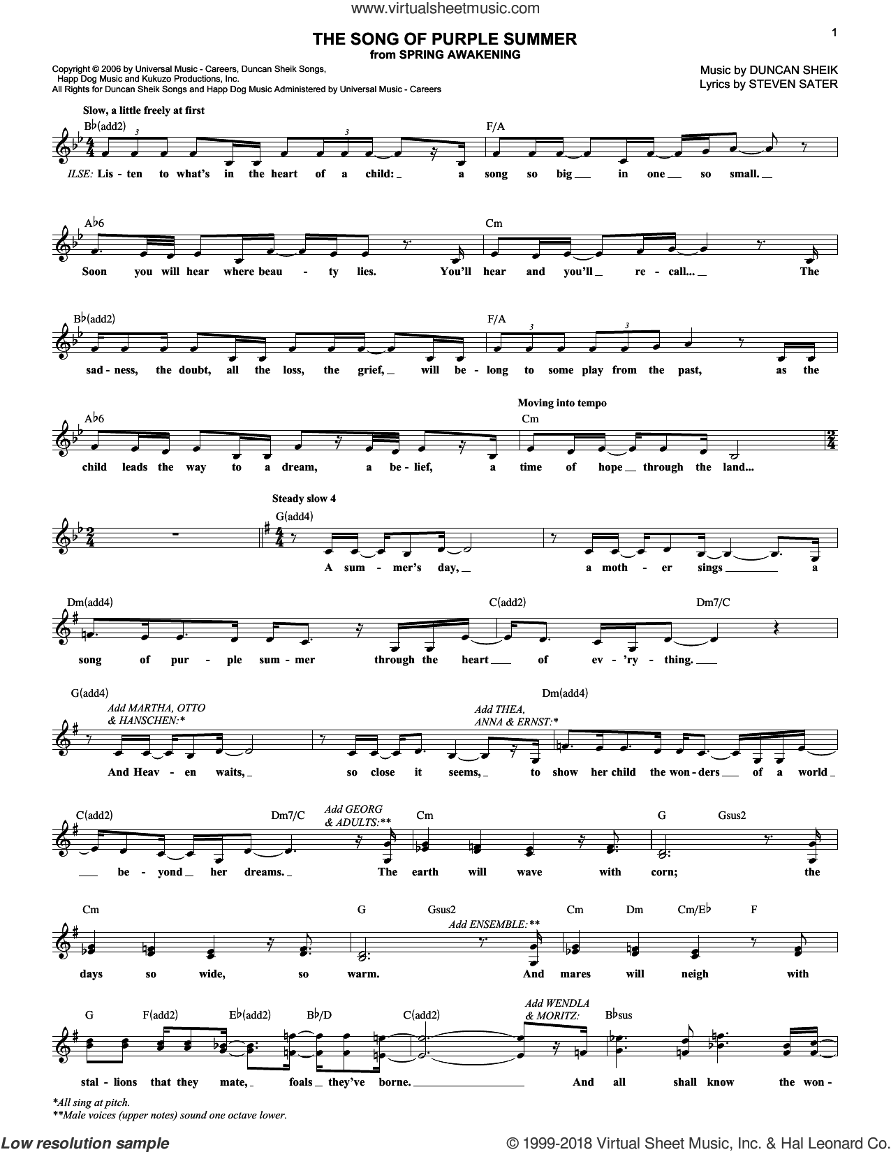 The Song Of Purple Summer sheet music for voice and other instruments (fake book) by Duncan Sheik, Spring Awakening (Musical) and Steven Sater, intermediate skill level