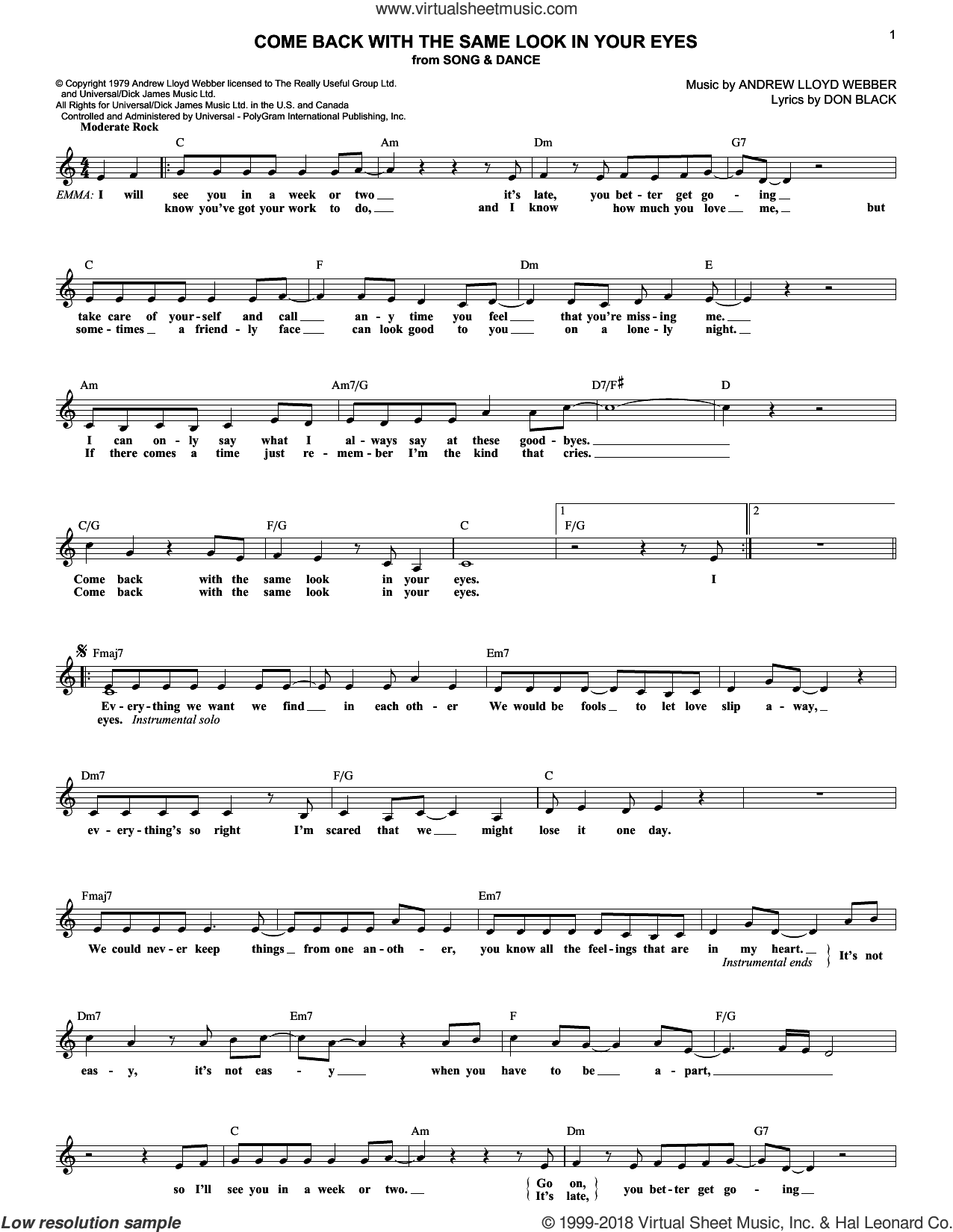 Come Back With The Same Look In Your Eyes sheet music for voice and other instruments (fake book) by Andrew Lloyd Webber, Song And Dance (Musical) and Don Black, intermediate