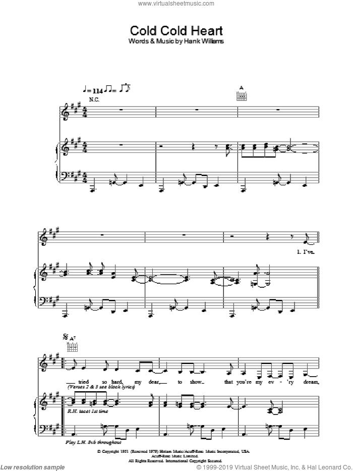 Cold Cold Heart sheet music for voice, piano or guitar by Norah Jones. Score Image Preview.