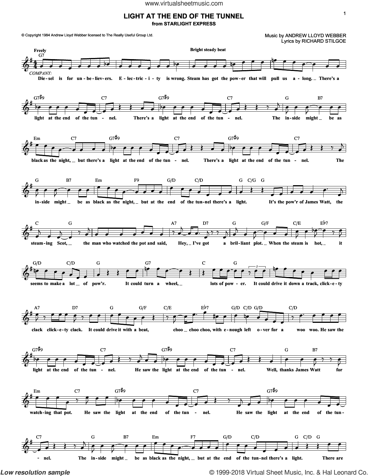 Light At The End Of The Tunnel sheet music for voice and other instruments (fake book) by Andrew Lloyd Webber, Starlight Express (Musical) and Richard Stilgoe, intermediate skill level