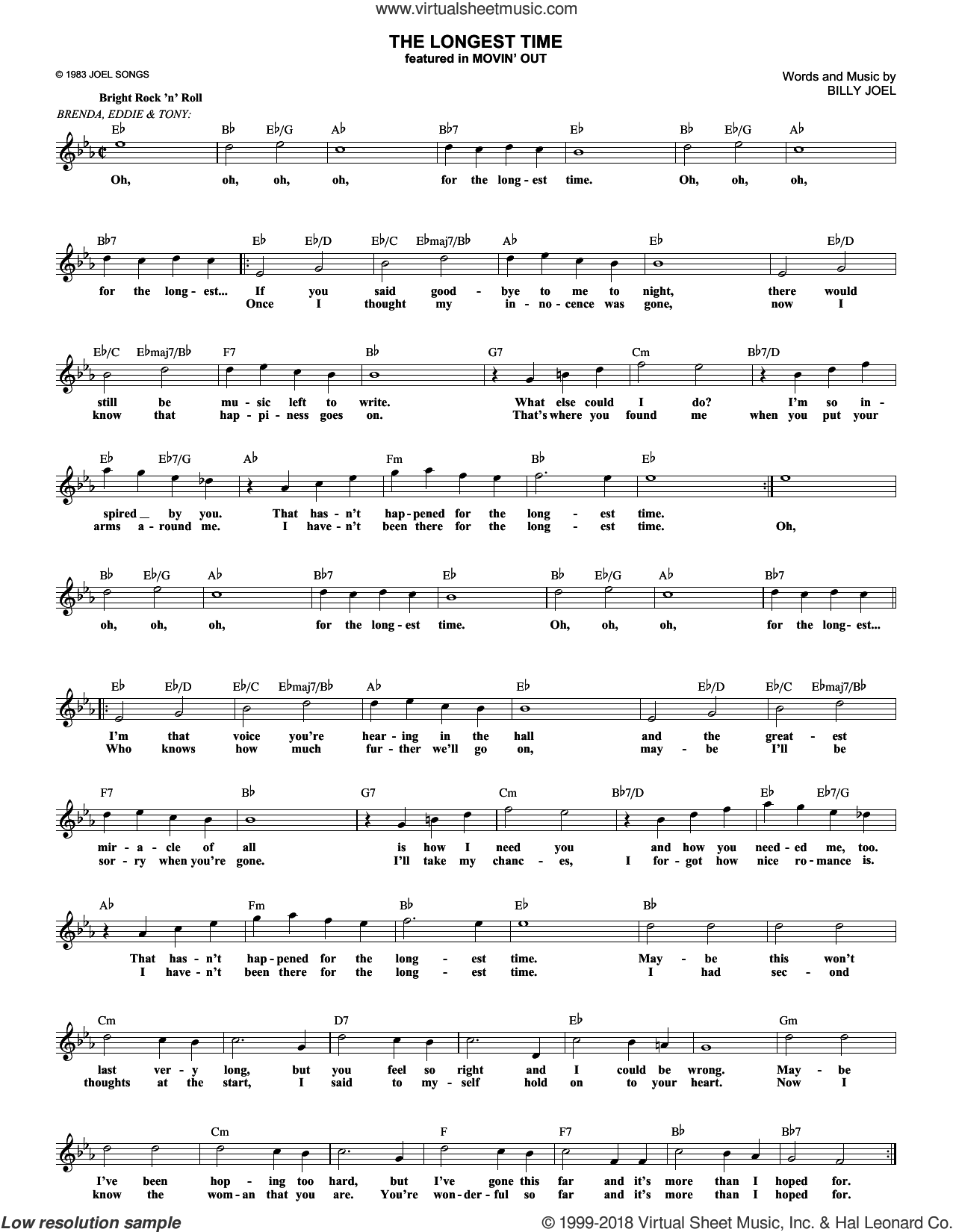 The Longest Time sheet music for voice and other instruments (fake book) by Billy Joel. Score Image Preview.