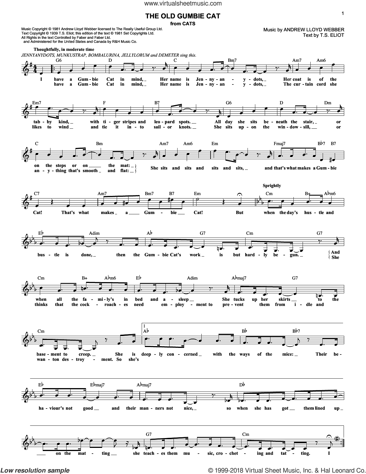 The Old Gumbie Cat sheet music for voice and other instruments (fake book) by Andrew Lloyd Webber, intermediate voice. Score Image Preview.