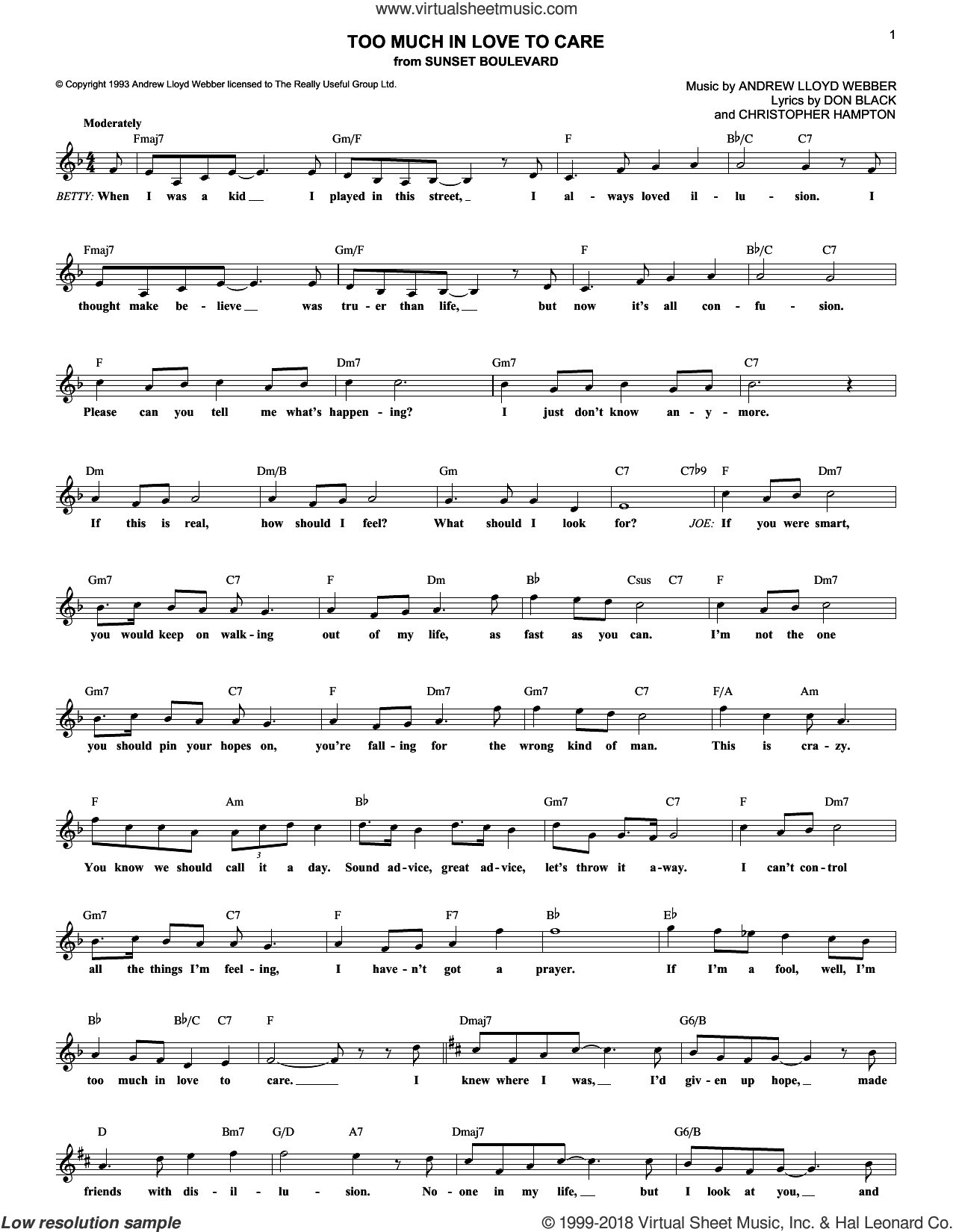 Too Much In Love To Care sheet music for voice and other instruments (fake book) by Andrew Lloyd Webber and Don Black, intermediate voice. Score Image Preview.