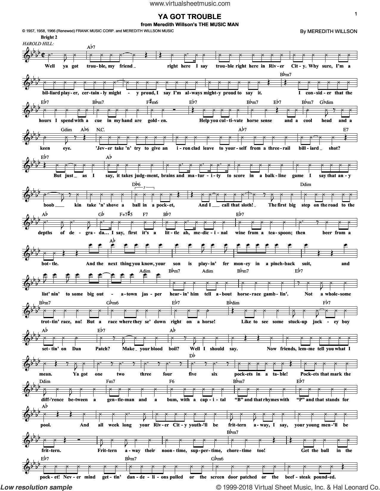 Ya Got Trouble sheet music for voice and other instruments (fake book) by Meredith Willson and The Music Man (Musical), intermediate skill level