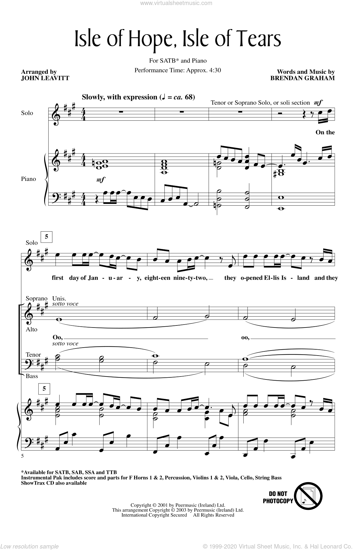 Isle Of Hope, Isle Of Tears sheet music for choir (SATB: soprano, alto, tenor, bass) by Brendan Graham and John Leavitt, intermediate skill level