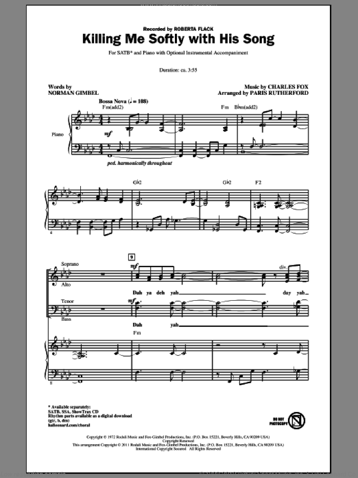 Killing Me Softly With His Song sheet music for choir (SATB) by Norman Gimbel, Charles Fox, Paris Rutherford and Roberta Flack