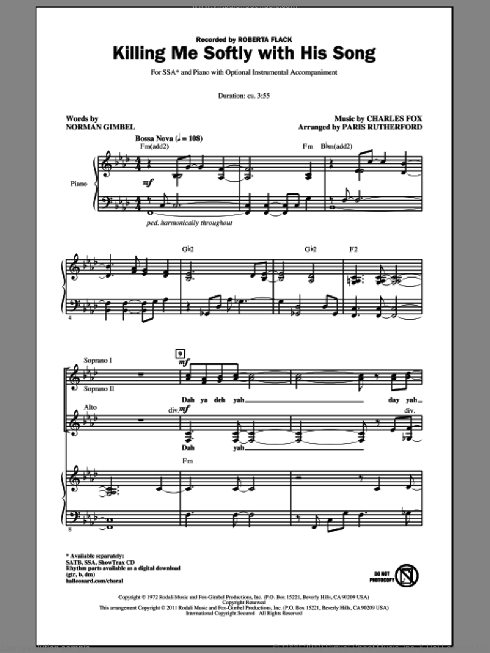 Killing Me Softly With His Song sheet music for choir and piano (SSA) by Charles Fox, Norman Gimbel, Paris Rutherford and Roberta Flack. Score Image Preview.