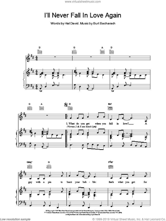 I'll Never Fall In Love Again sheet music for voice, piano or guitar by Bacharach & David, Promises, Promises (Musical), Burt Bacharach and Hal David, intermediate skill level