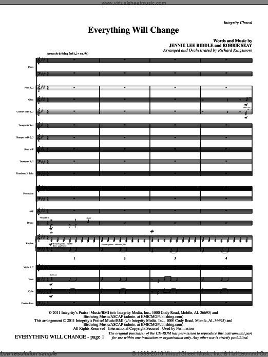 Everything Will Change (COMPLETE) sheet music for orchestra by Jennie Lee Riddle and Richard Kingsmore, intermediate. Score Image Preview.