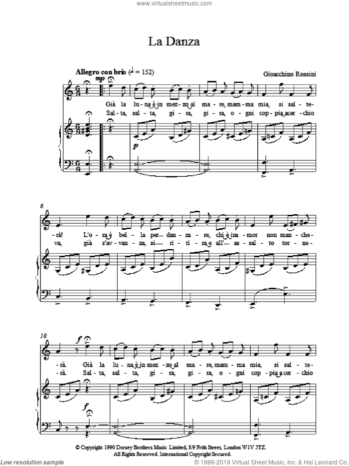 LaDanza sheet music for voice, piano or guitar by Gioacchino Rossini. Score Image Preview.
