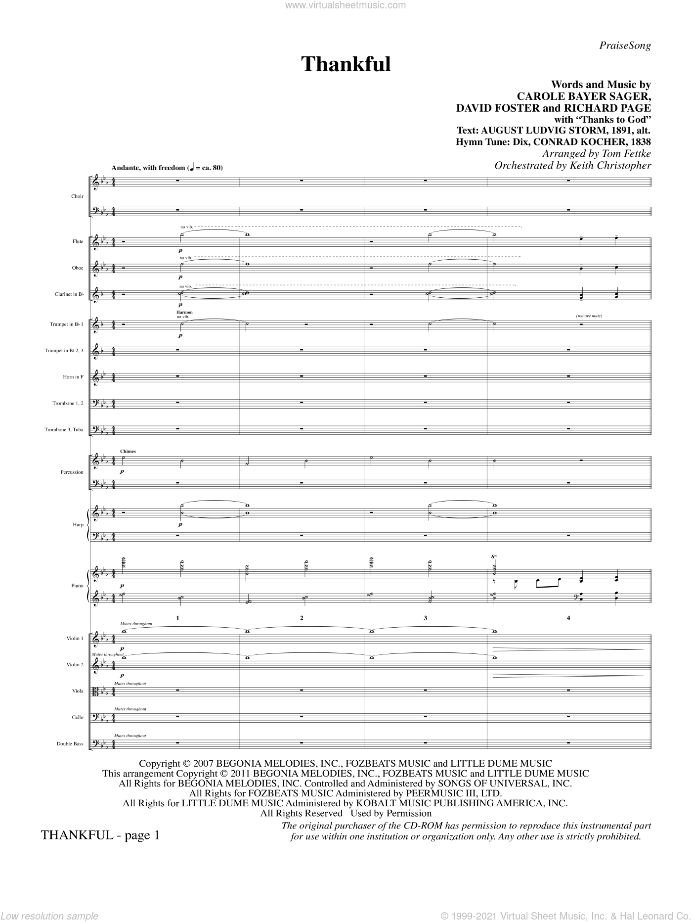 Thankful sheet music for orchestra/band (full score) by Carole Bayer Sager