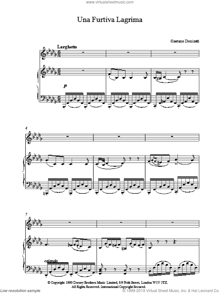 Una Furtiva Lagrima sheet music for voice, piano or guitar by Gaetano Donizetti, classical score, intermediate voice, piano or guitar. Score Image Preview.